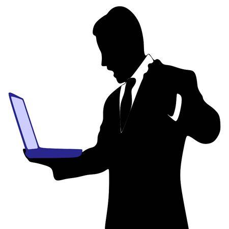 boos zakenman werken op de laptop