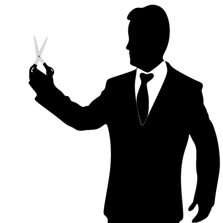 elimination: businessman with scissors