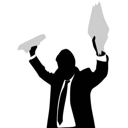 furious: Furious businessman holding some documents