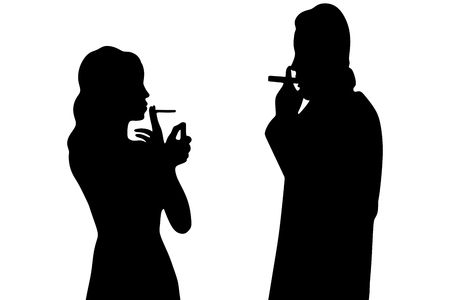 boyfriend: young couple smoking cigar