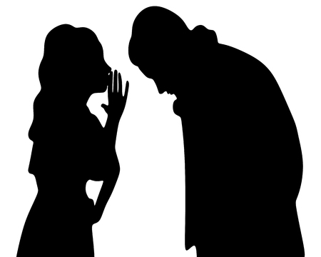 compatibility: Young cute woman whispering secrets in her boyfriends ear Illustration
