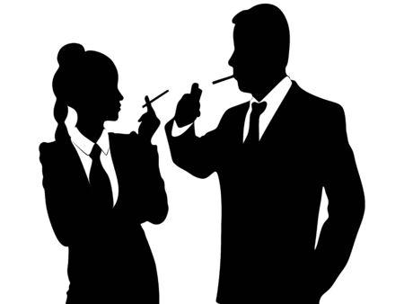cigar smoking woman: young business people smoking cigar