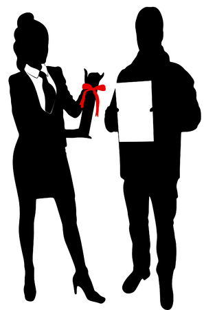 one girl only: Young Businesswoman and business man holds up certificate