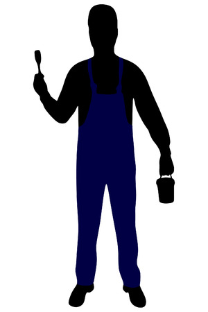 decorator: handyman - painter dressed in work clothes