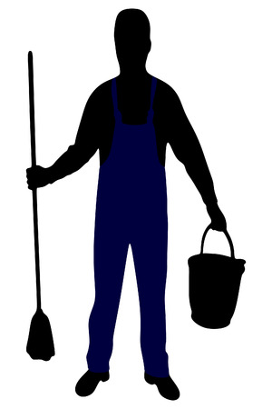 wash hand stand: Cleaner with a brush and a bucket