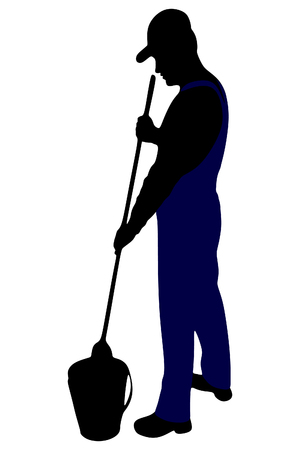 brush cleaner: Cleaner with a brush and a bucket