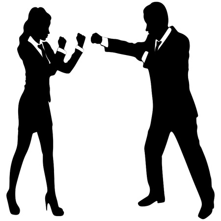 Businesswoman boxing with a young businessman Vettoriali