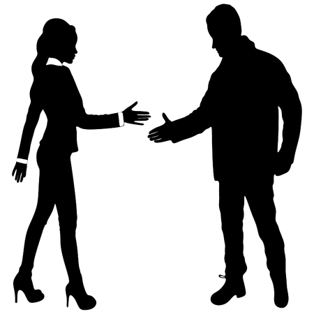 shaking: Businesswoman and businessman shaking hands