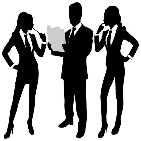 woman tablet: Business people working together