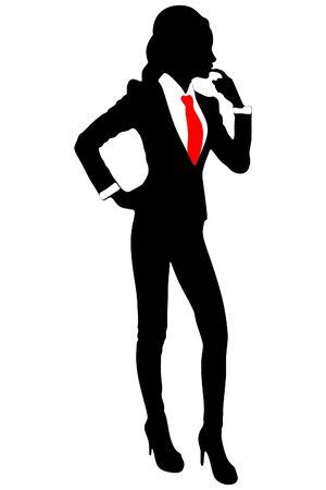 mujer de negocios de pie y el pensamiento