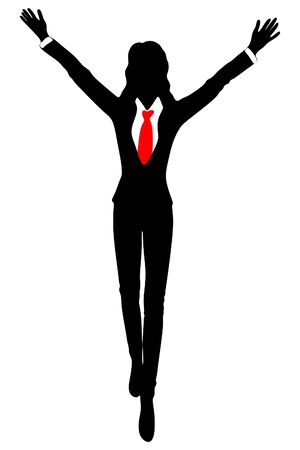 arms open: Business woman standing with open arms