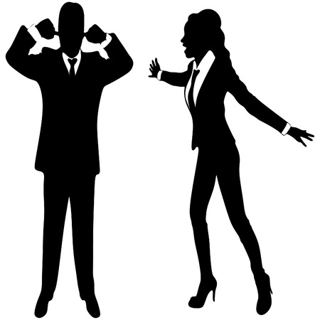 sexes: angry business woman or boss screaming at business man who covering ears with both hands
