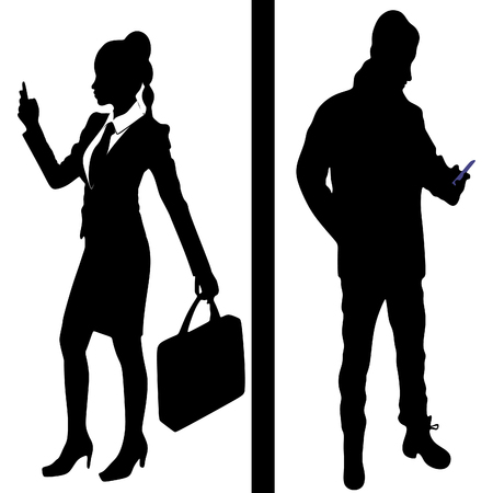 smart woman: businesswoman and business man writing message on mobile phone
