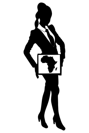 ethiopia abstract: Business woman show board, banner - map of africa Illustration