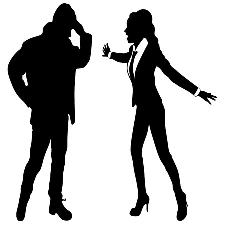 mobbing: angry business woman or boss screaming at young man