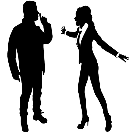 screaming: angry business woman or boss screaming at young man who showing silence gesture