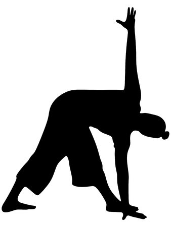 sport mats: Energetic man doing yoga poses, trikonasana