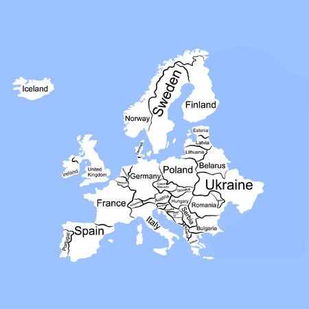 czech switzerland: illustrata mappa vettoriale d'Europa Vettoriali
