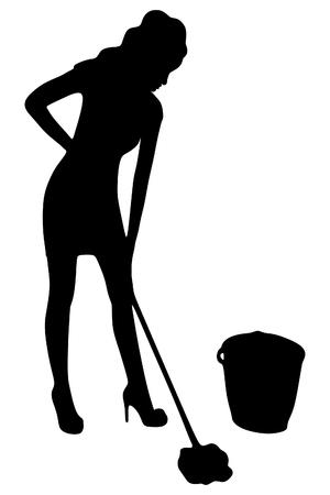 Pulizia donna con straccio e secchio
