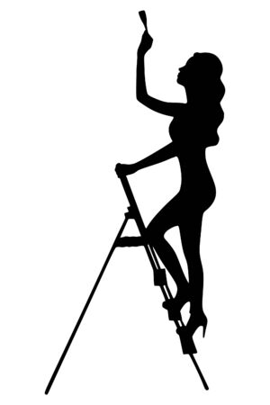 Woman stands on a ladder to paint her walls Vectores