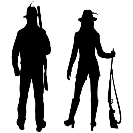 fusil de chasse: chasseurs prêts à chasser avec fusil de chasse