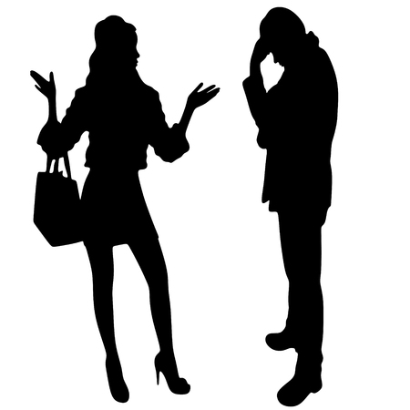 woman looking down: woman talking with worried man Illustration