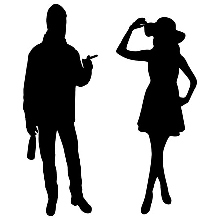 cigar smoking man: man smoking cuban cigar while beautiful girl standing