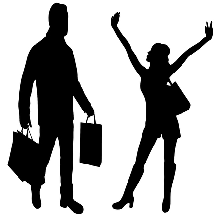 happy couple: happy fashionable couple with shopping bags Illustration