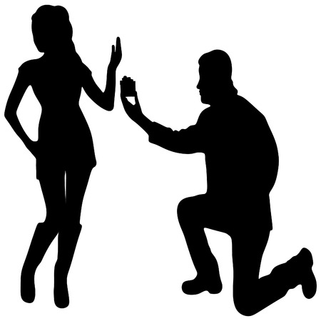 refusing: young handsome man making proposal of marriage, but young woman is refusing him