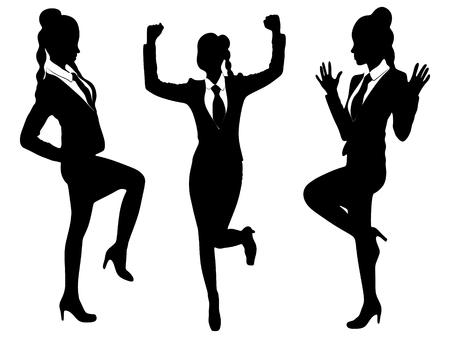 Three happy business women smiling Ilustrace