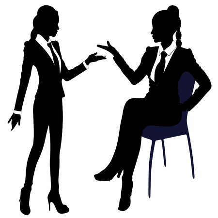 crouch: two business women talking Illustration