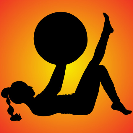 stability: pilates woman stability ball gym fitness yoga Illustration