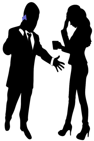 man yelling: angry businessman talking with telephone - mobile, sad woman standing Illustration