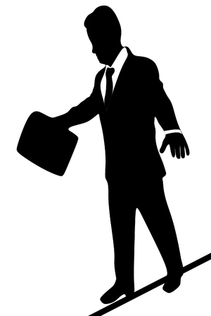 businessman walking: A businessman walking on a tightrope