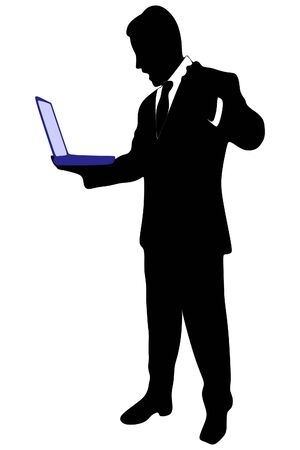 angry businessman: angry businessman working on the laptop