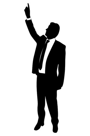 finger point: Business man with finger point up