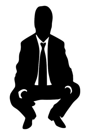 crouched: businessman sitting crouched Illustration