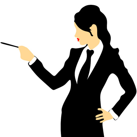 attractive businesswoman: Attractive businesswoman pointing with pencil