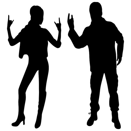 hot teenage girl: Young woman and man giving the Rock and Roll sign