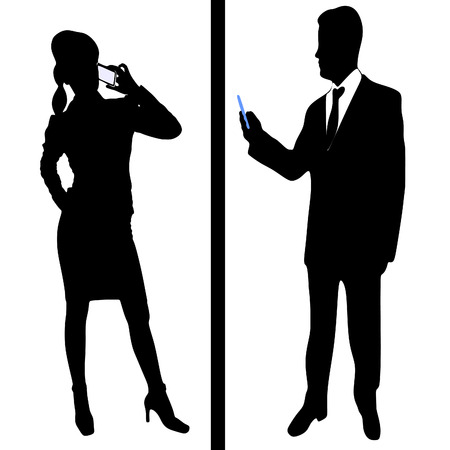 Businessman and woman talking with telephone - mobile Vectores