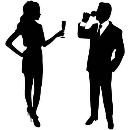 toasting wine: man and woman toast with champagne Illustration