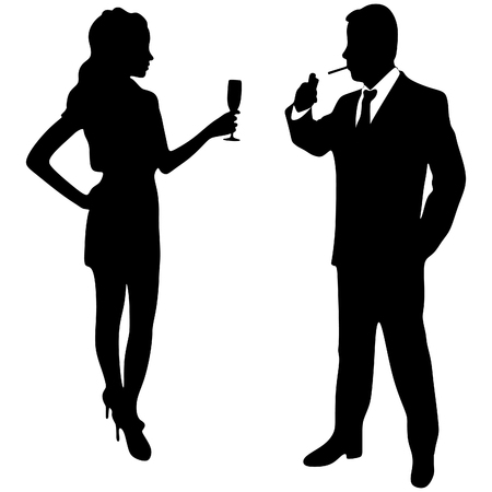 rich couple: business people smoking and drinking Illustration
