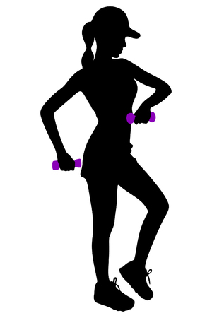 alluring: young woman making exercise at the gym Illustration