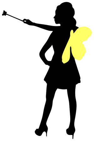 girl magic wand: Portrait of a dreamy fairy girl with a magic wand
