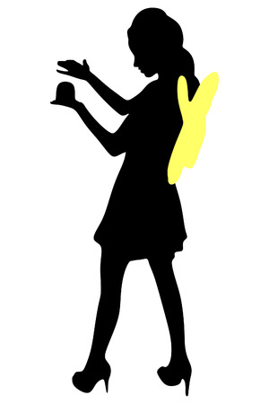 magic young: Young woman in fairy dress holding magic ball over white background
