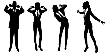 mobbing: angry business woman or boss screaming Illustration
