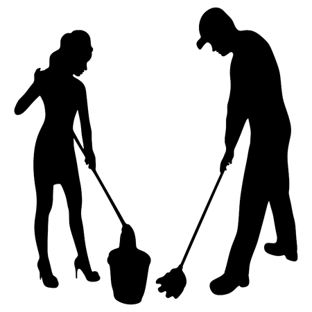 housework: Young smiling cleaner man and woman. Housework. Isolated on white background.