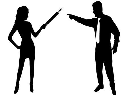 irate: Angry woman hitting her partner with a cooking roller in a fight Illustration