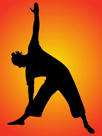 Yoga position, trikonasana Illustration