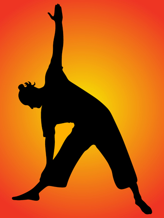 zenlike: Yoga position, trikonasana Illustration